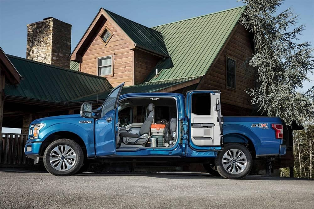 2019 Ford F-150 Parked Outside with Inside Cargo Area Loaded