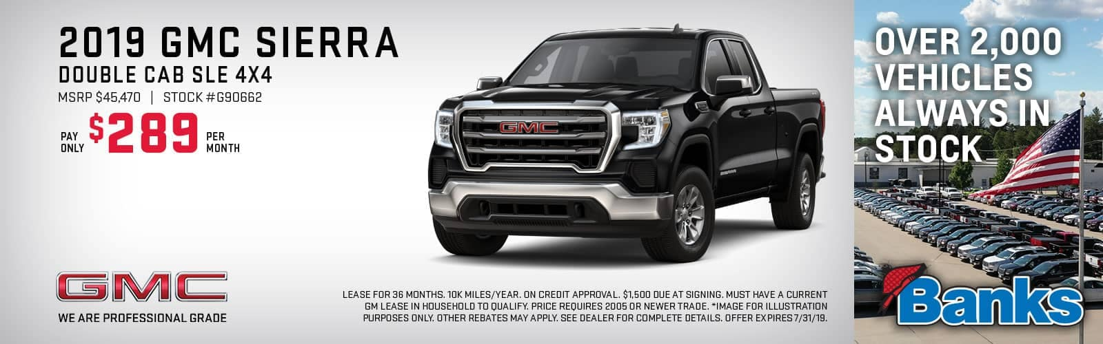 Banner of GMC Sierra Double Cab 4x4 for July Special