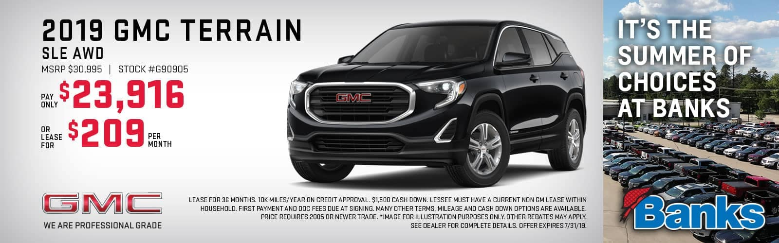 Banner of GMC Terrain for July Lease Special