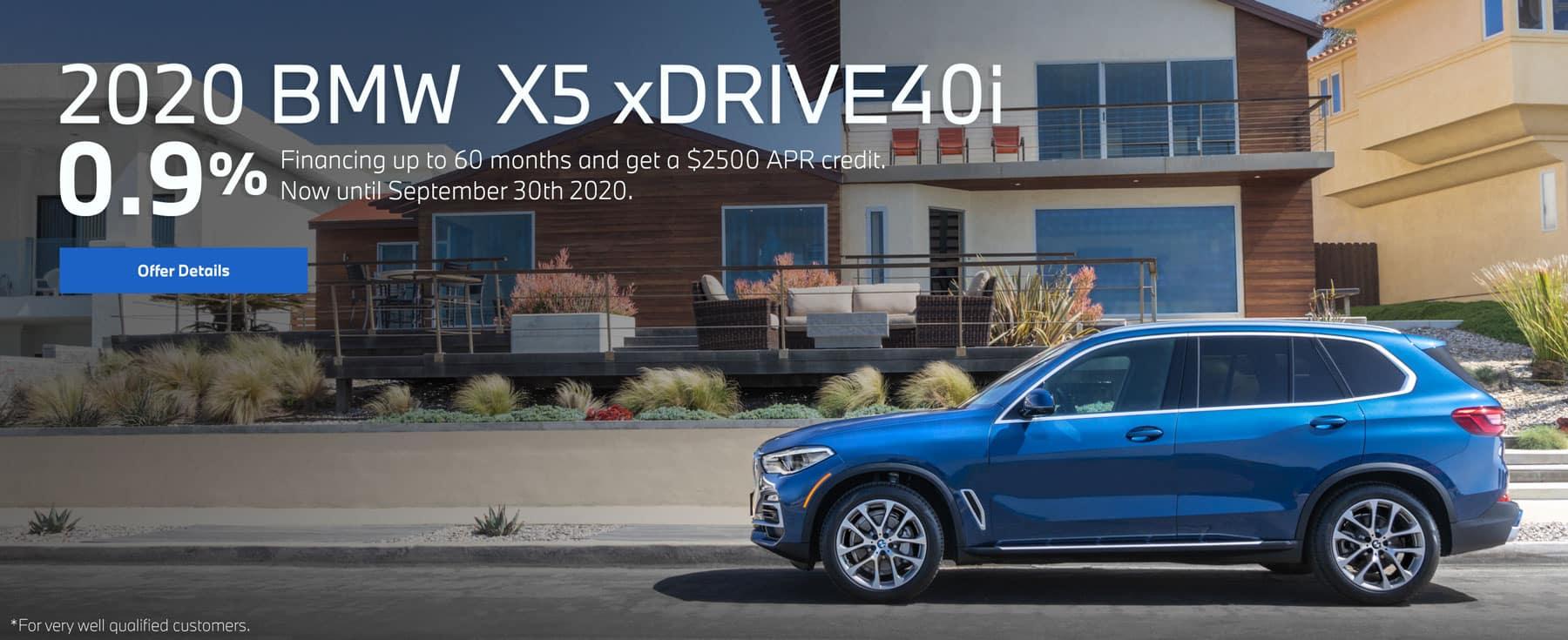 2020 bmw x5 xDrive40i 0.9% offer