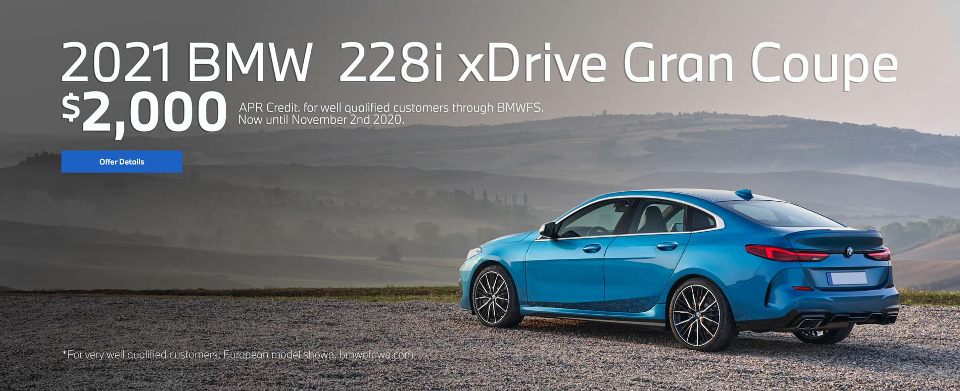 2021 BMW 228i xDrive Gran Coupe, $2000 apr credit