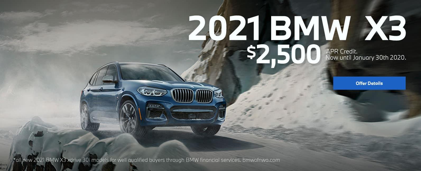 2021 x3 $2500 appr credit
