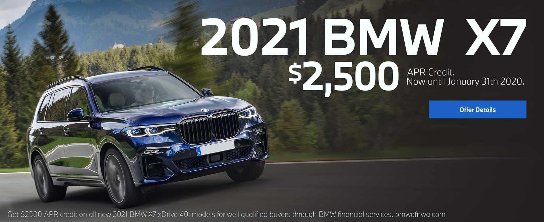 2021 BMW X7 $2500 apr credit