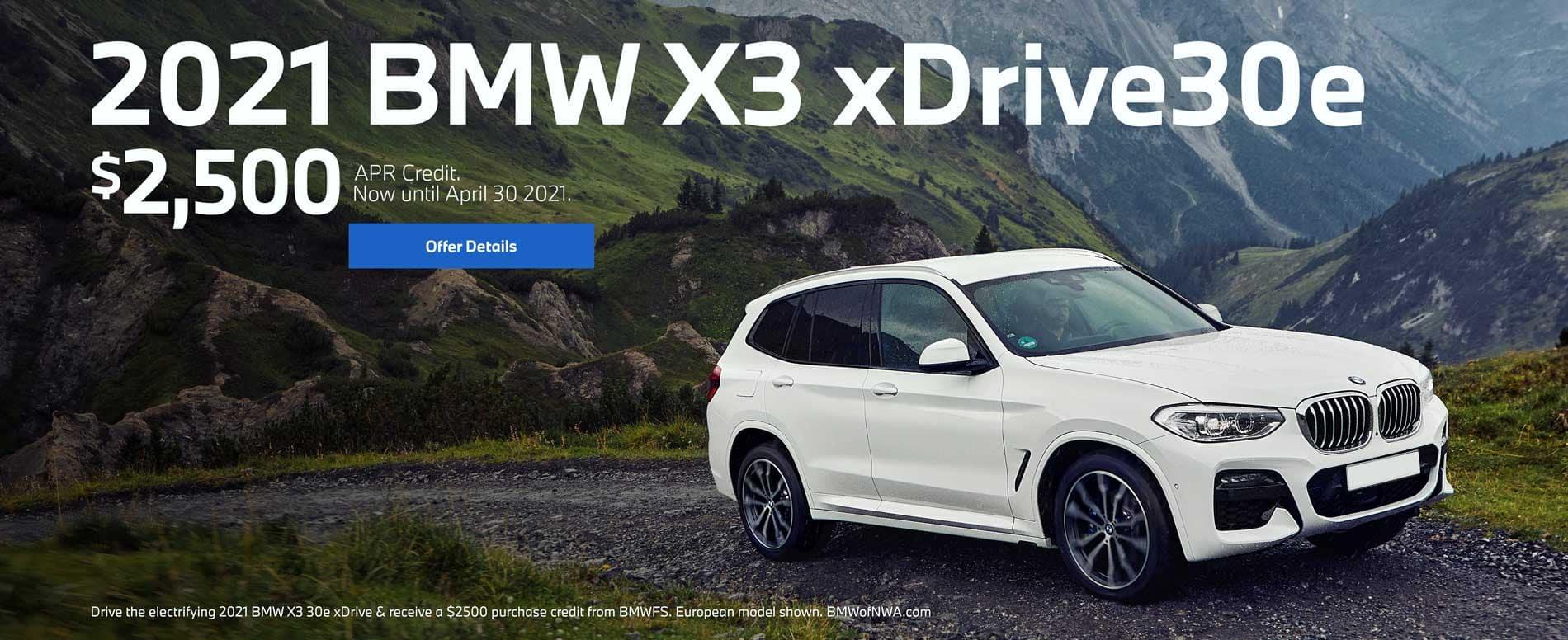 2021 BMW X3 xDrive30e $2500 APR Credit
