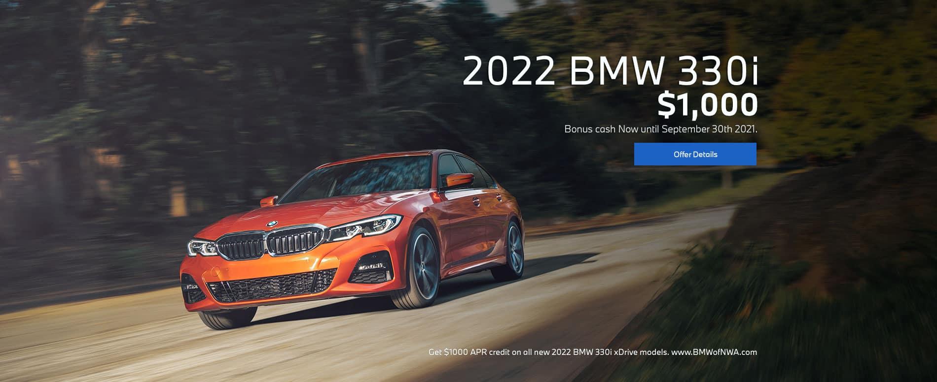 2022 BMW 330i $1000 bonus cash on sedan models