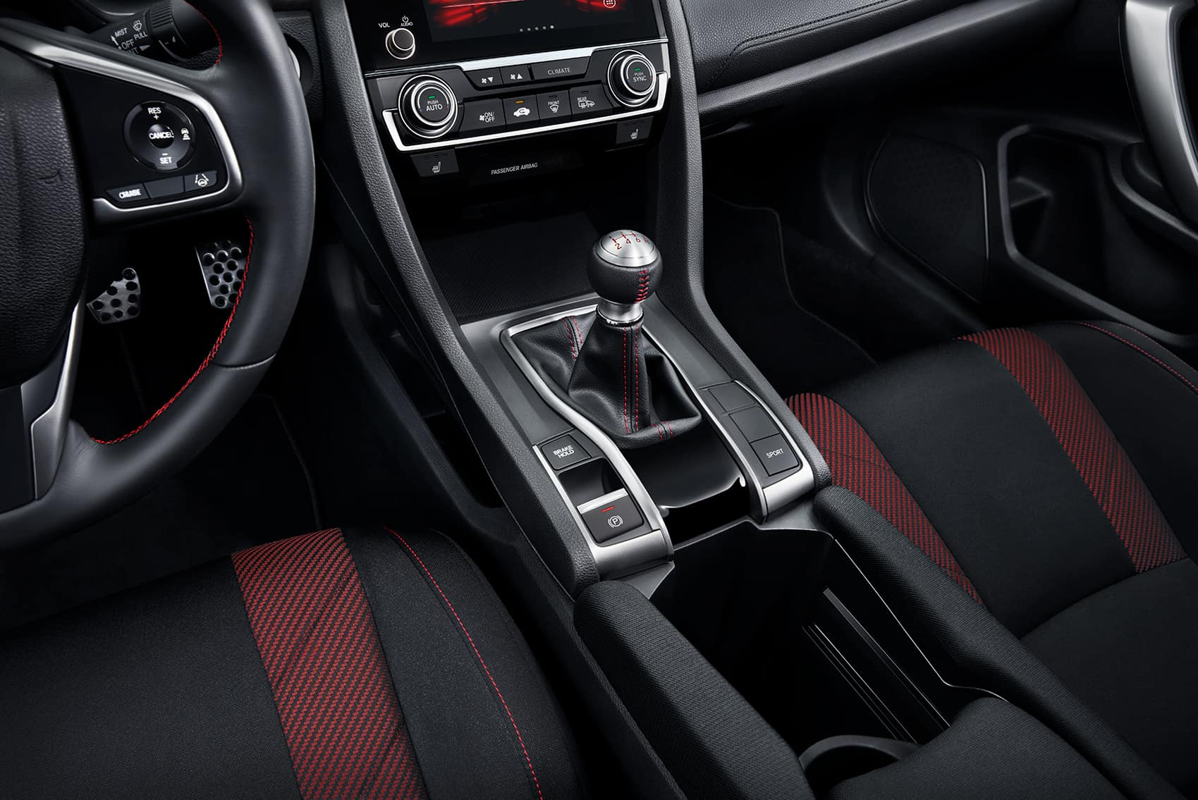 Comparison of the 2020 Civic Sedan vs. the 2020 Accord at Boch Honda West of Westford MA | the center console of the 2020 honda civic