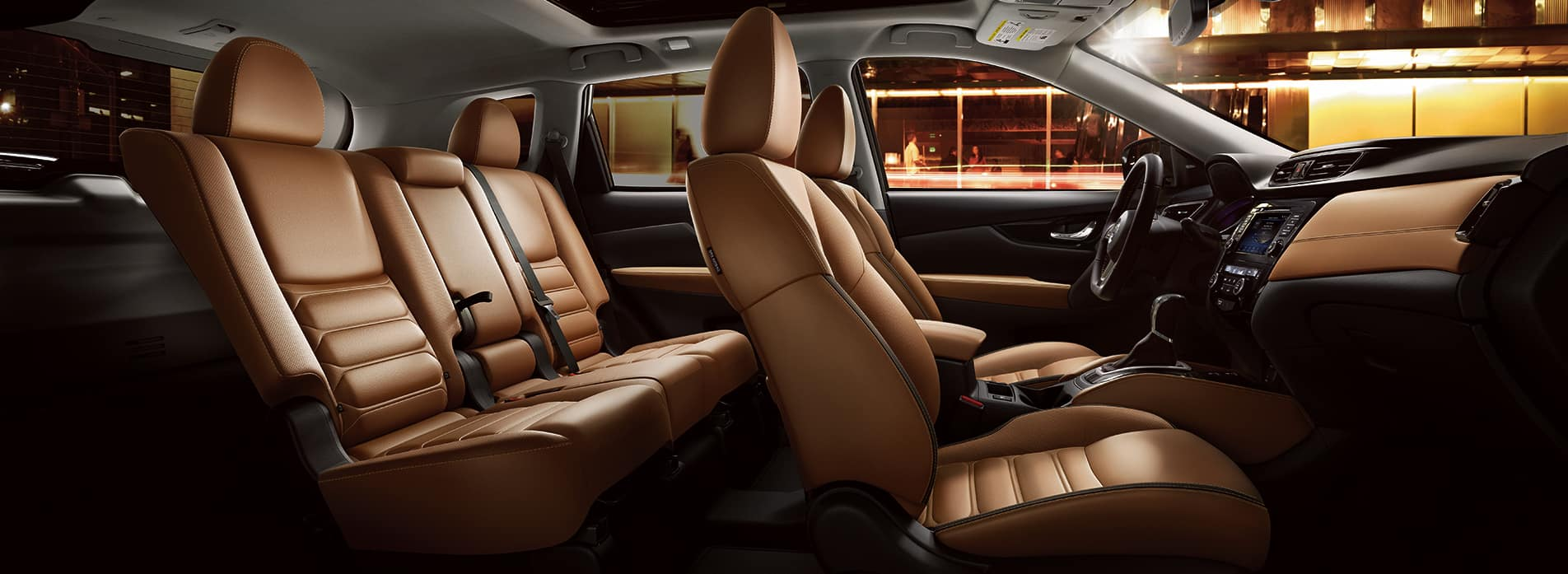 The 2020 Rogue model features at Boch Nissan South in North Attleboro | The brown leather interior of the 2020 rogue