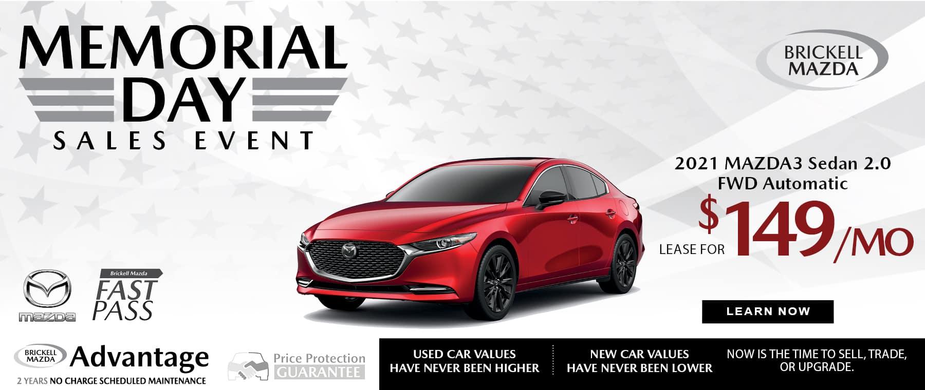 red 2021 Mazda3 sedan