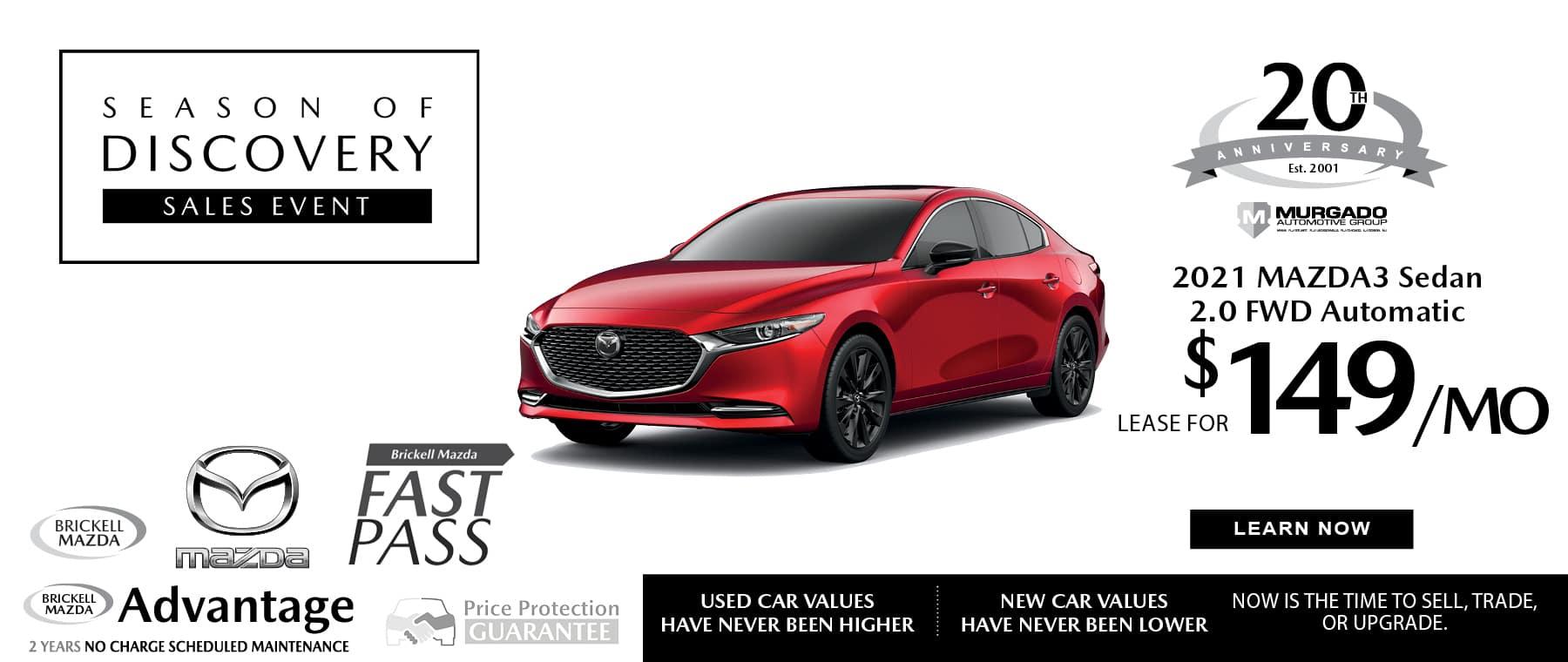 red 2021 Mazda Mazda3 sedan sale
