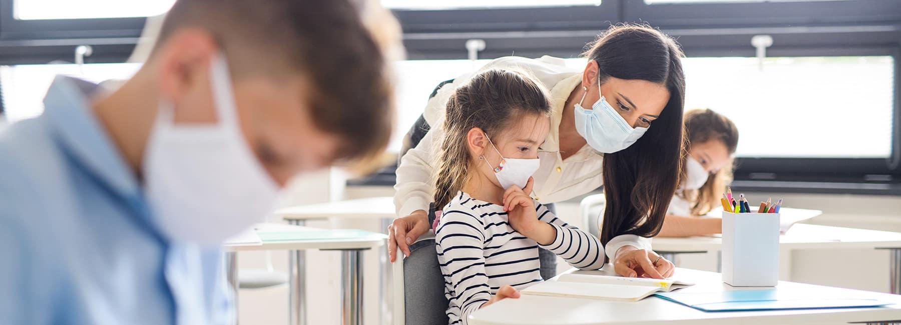 teacher with face mask