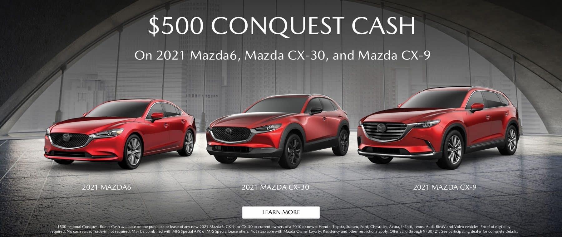red 2021 Mazda6, CX30, CX9