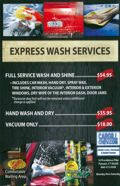 Express wash services ad