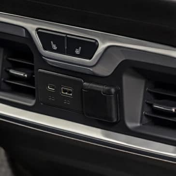 Close up view of backseat air vent system