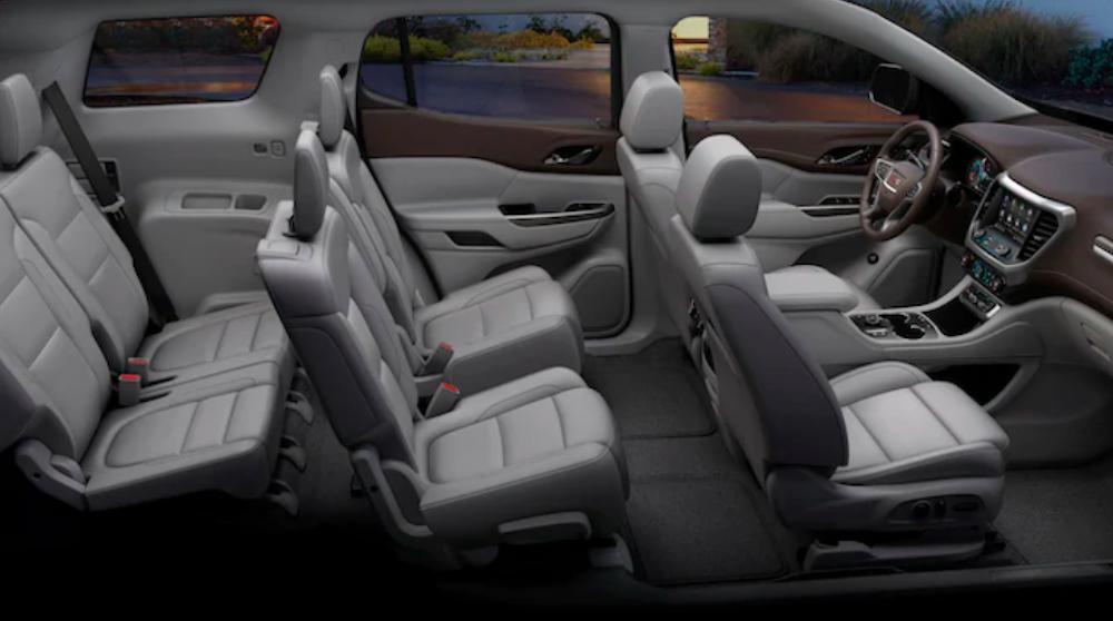 2020 gmc acadia grey interior side view