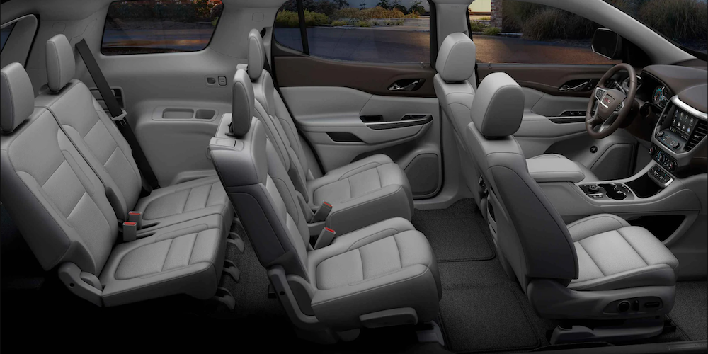 2021 gmc acadia interior black leather side view