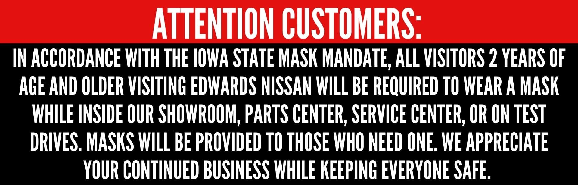 Must wear mask at Edwards Nissan