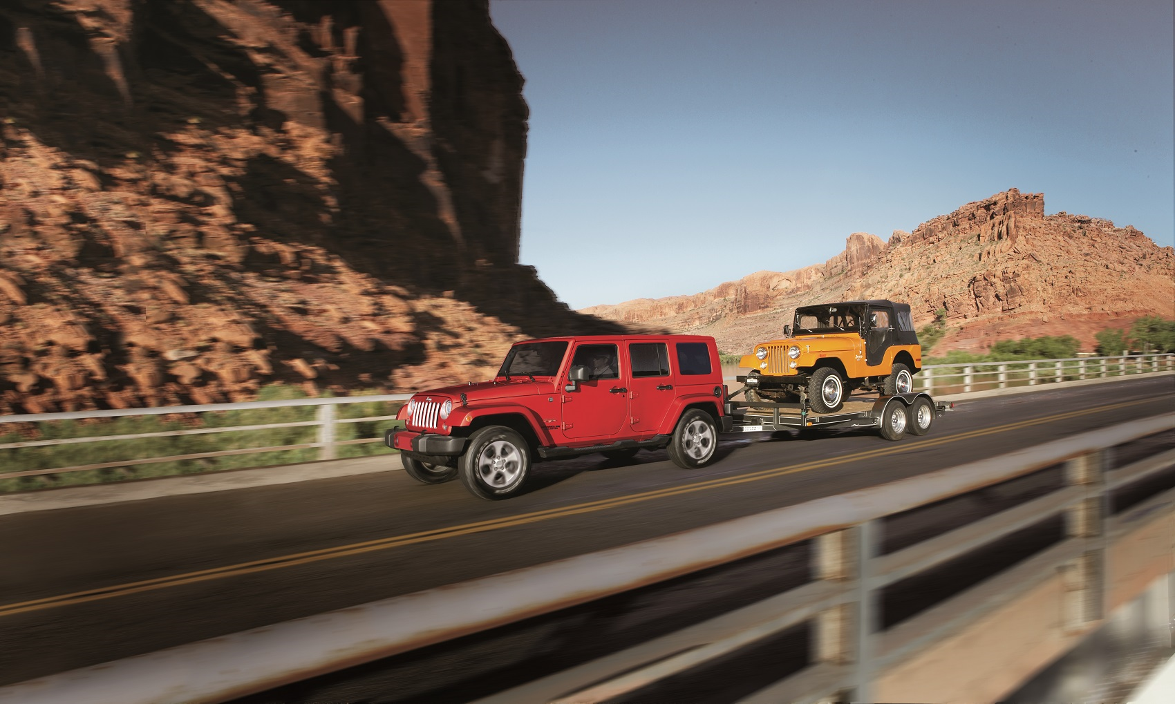 Jeep Wrangler Towing a Jeep
