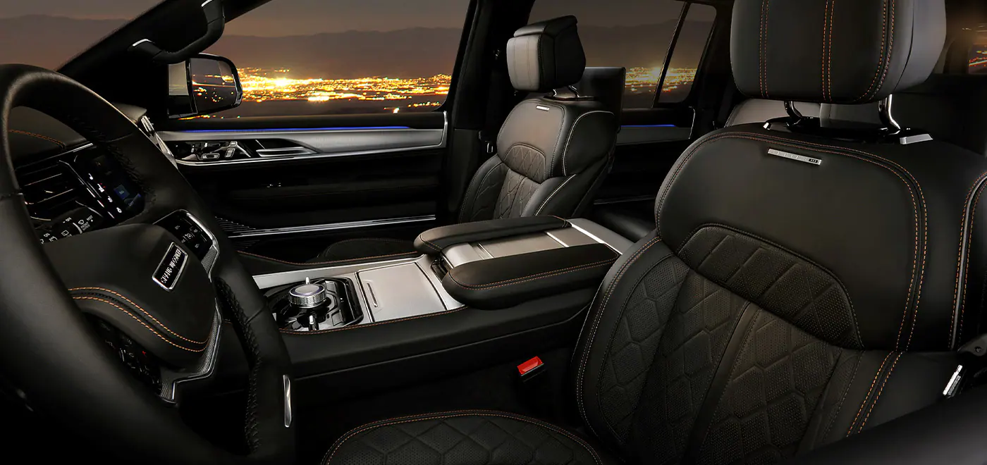 2022 Jeep Wagoneer interior at dusk
