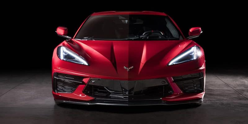 Front facing Red Corvette C8