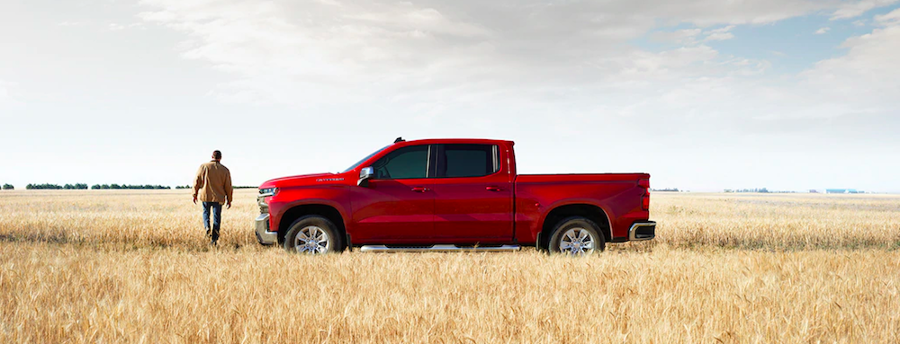 Man walking by a red Silverado truck in a field of wheat