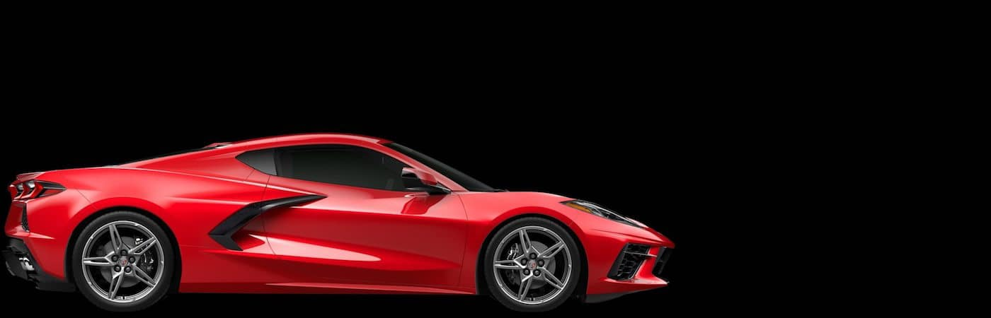 Side view of red Corvette mid-engine C8