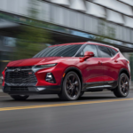 2021 chevy blazer red exterior driving down roadway