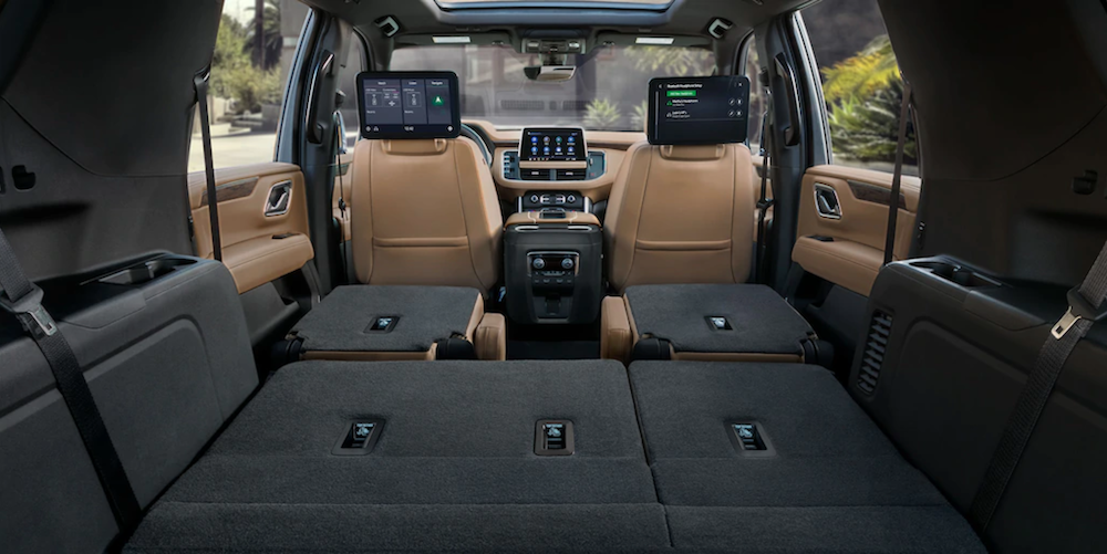 2021 chevy tahoe interior view from trunk with seats folded back