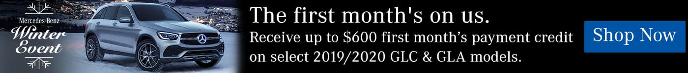 $600 payment credit for first month on select 2019/2020 GLC and GLA models