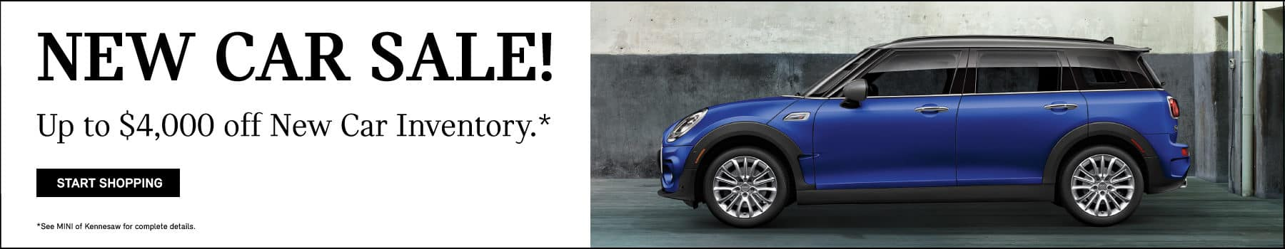 New car sale! Up to $5,000 off New car inventory. Start shopping button. See MINI of kennesaw for complete details. Starlight blue MINI Cooper S Countryman parked inside warehouse.
