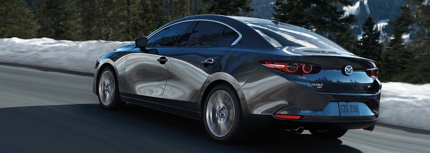Silver 2020 Mazda 3 Sedan on Mountain Highway