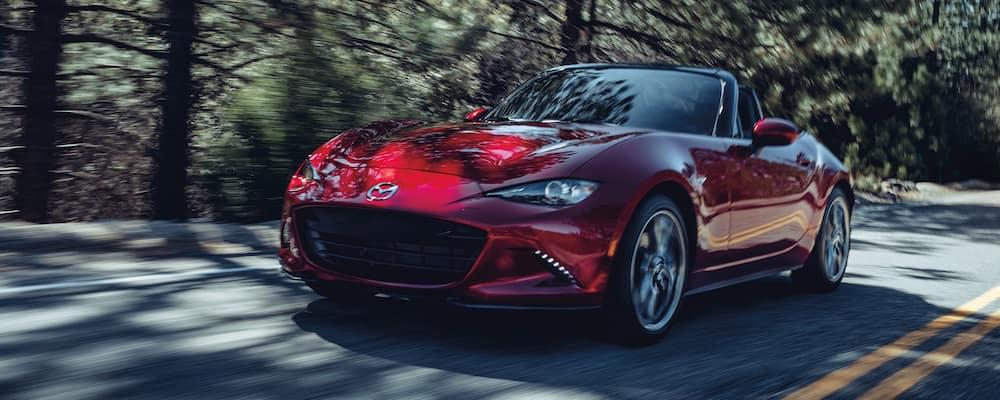 2020 Red Mazda Miata on Highway