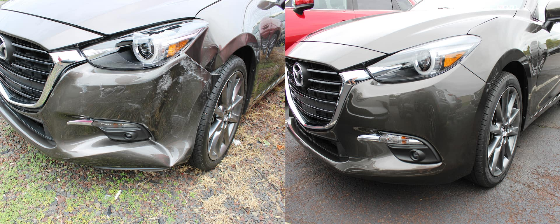 Front end damage before and after on Mazda model.
