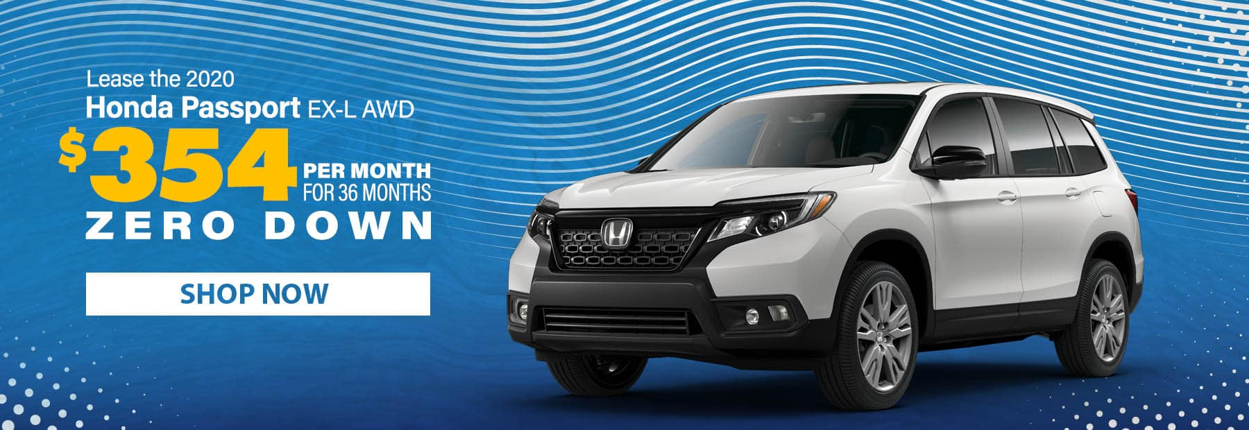 Lease a 2020 Honda Passport EX-L AWD SUV for $354/mo. for 36 months with $0 down!