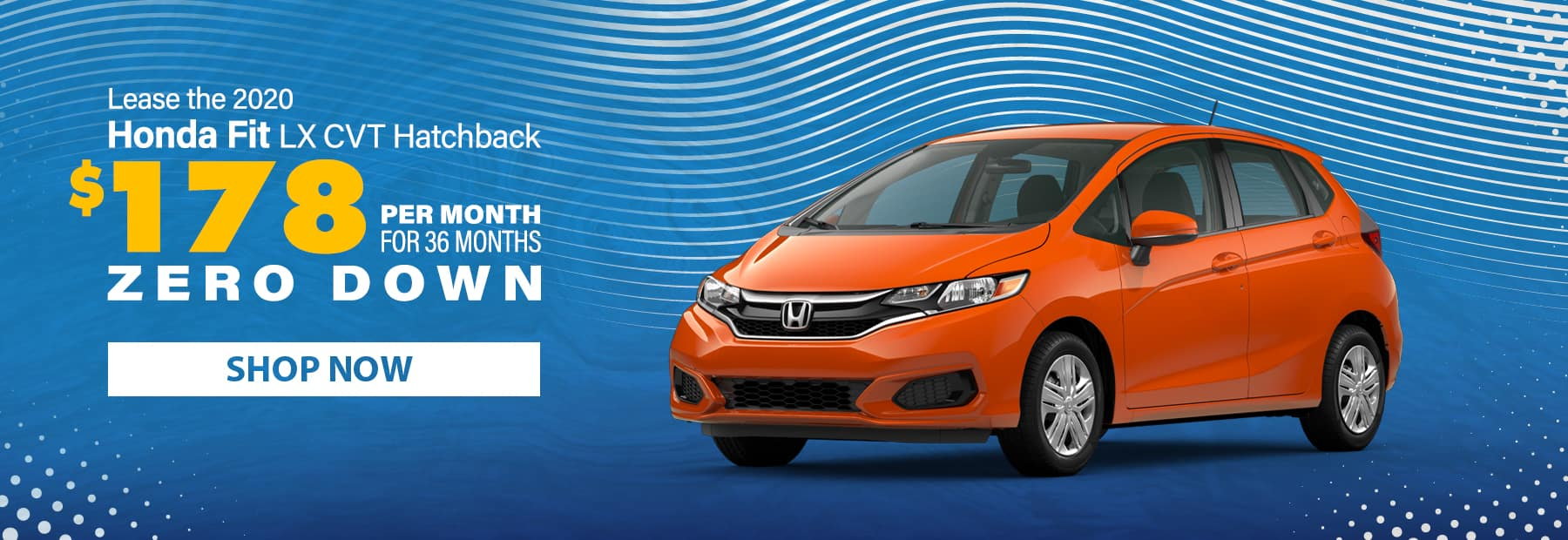 Lease a 2020 Honda Fit LX CVT Hatchback for $178/mo. for 36 months with $0 down!