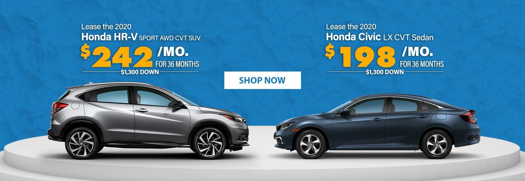 Lease a 2020 Honda HR-V Sport AWD CVT SUV or Lease a 2020 Honda Civic LX CVT Sedan