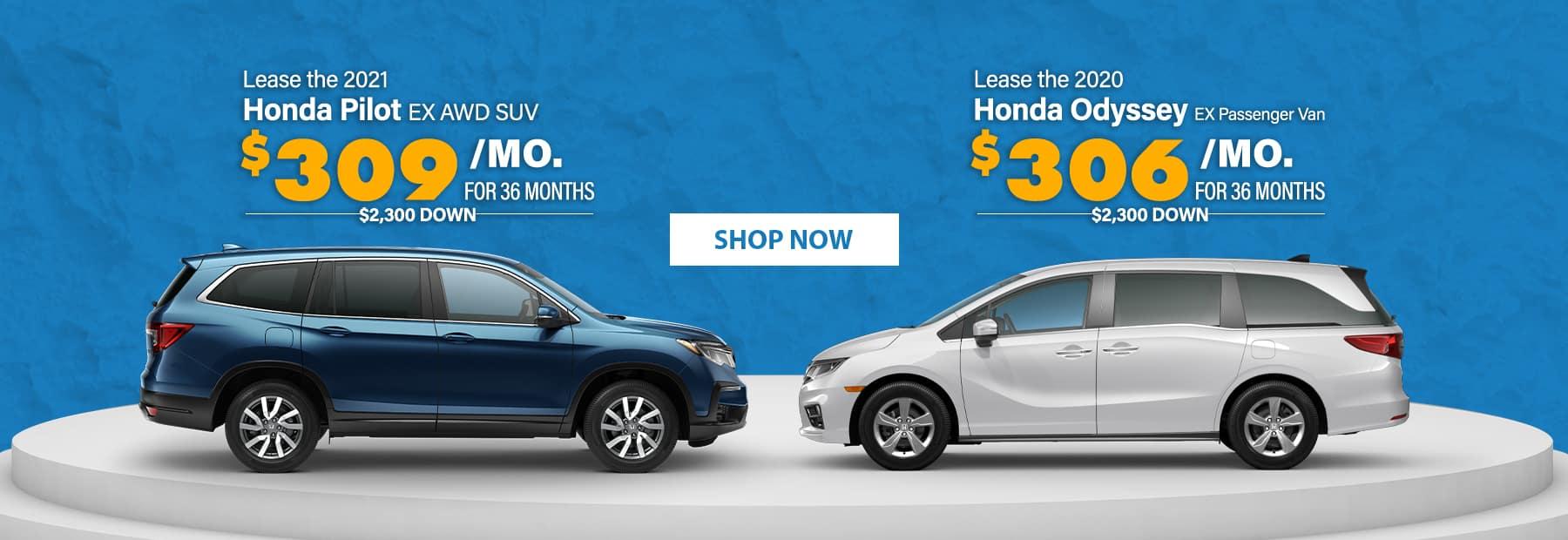 Lease a 2021 Honda Pilot EX AWD SUV or Lease a 2020 Honda Odyssey EX Passenger Van