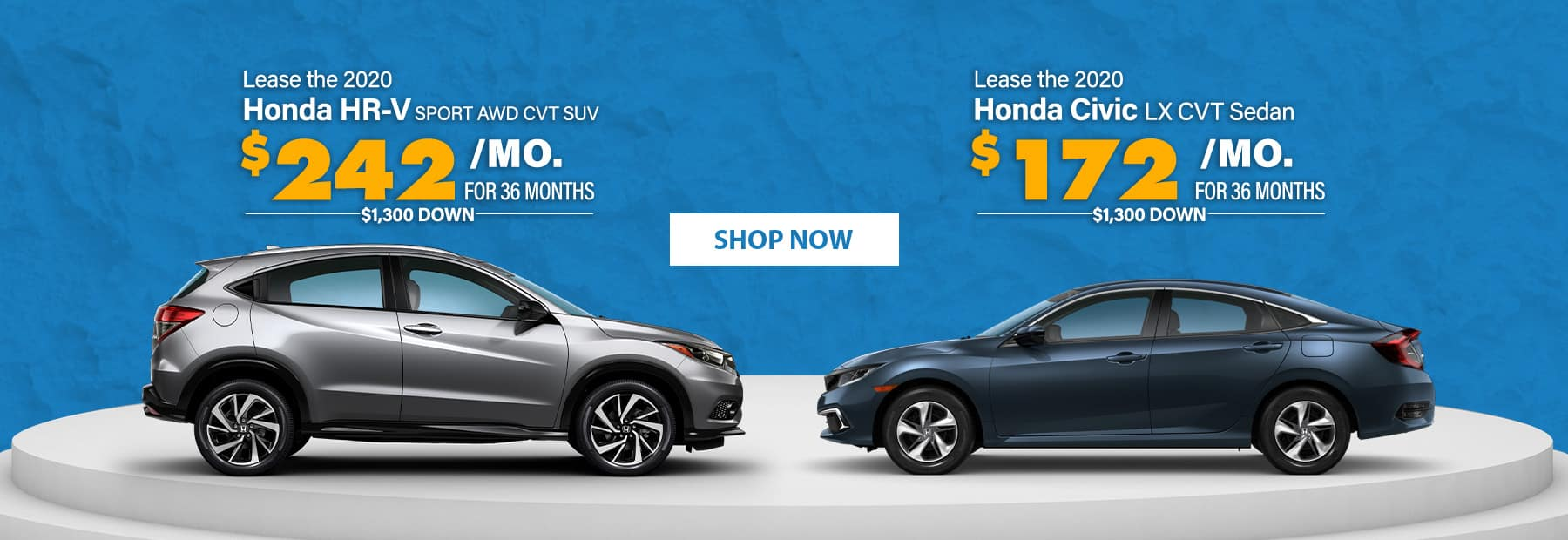 Lease a 2020 Honda HR-V Sport AWD CVT SUV or Lease a 2020 Honda Civic LX CVT Sedan