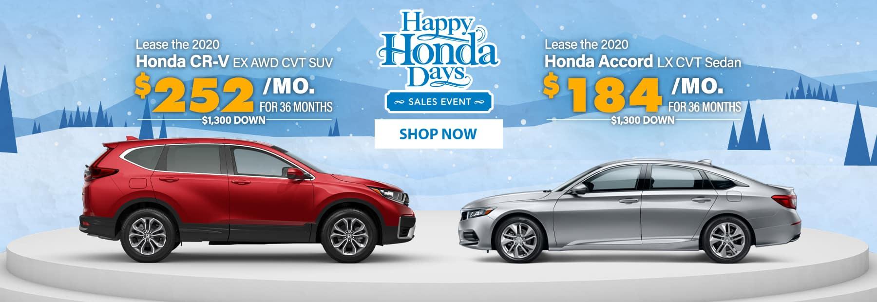 Lease a 2020 Honda CR-V EX AWD CVT SUV or Lease a 2020 Honda Accord LX CVT Sedan