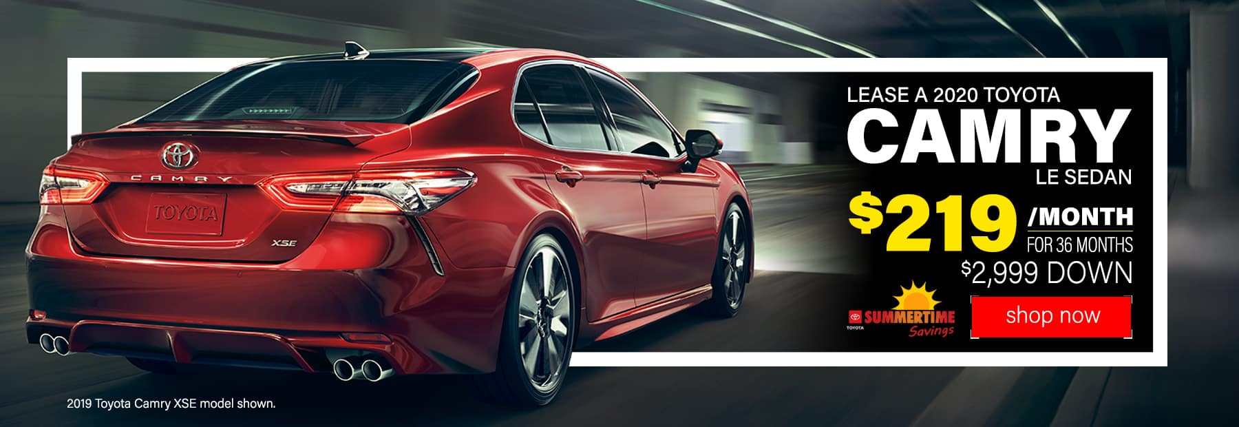 Lease a 2020 Toyota Camry LE Sedan for $219/mo. for 36 mos. with $2,999 down