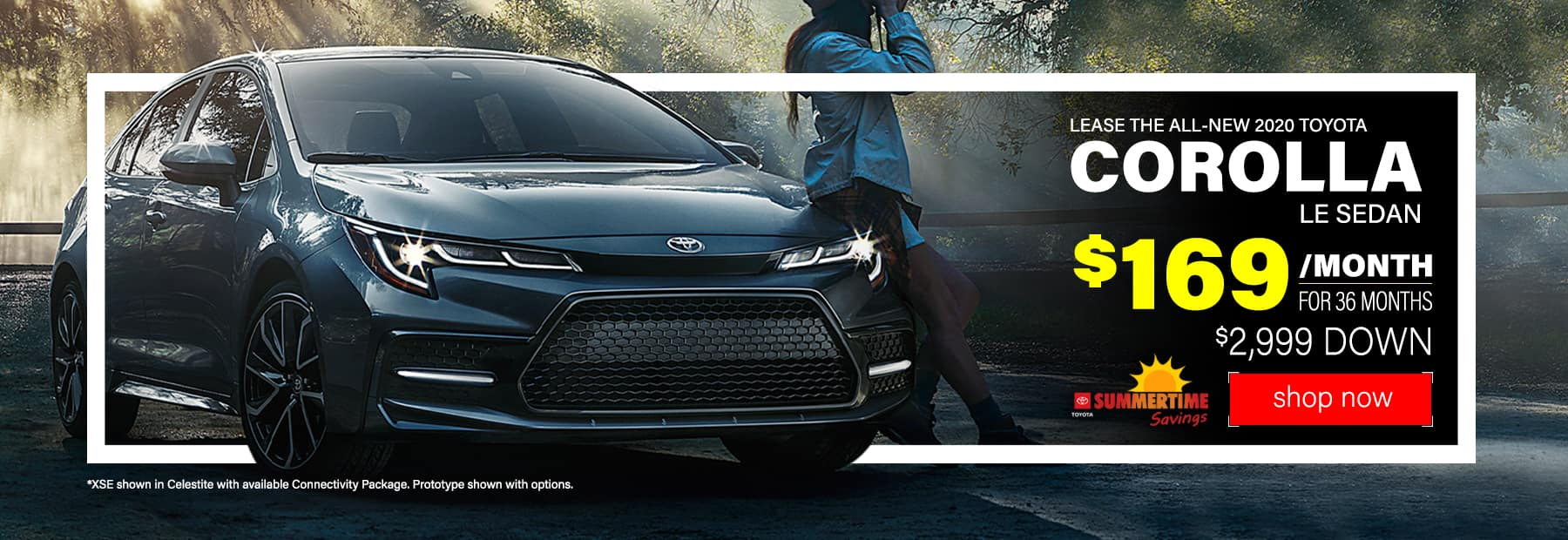 Lease a 2020 Toyota Corolla LE Sedan for $169/mo. for 36 mos. with $2,999 down