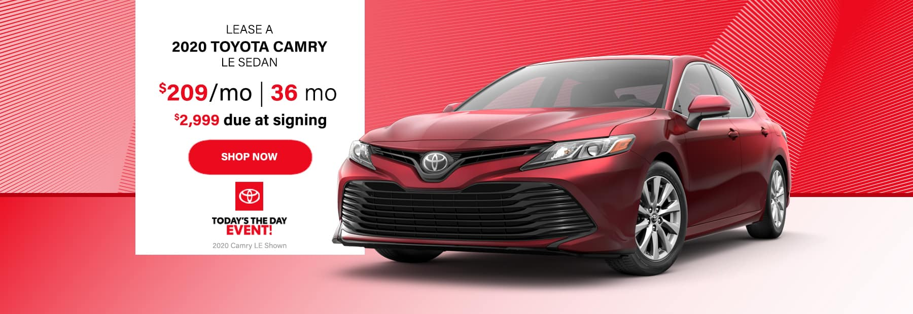 Lease a 2020 Toyota Camry LE Sedan for $209/mo. for 36 mos. with $2,999 down