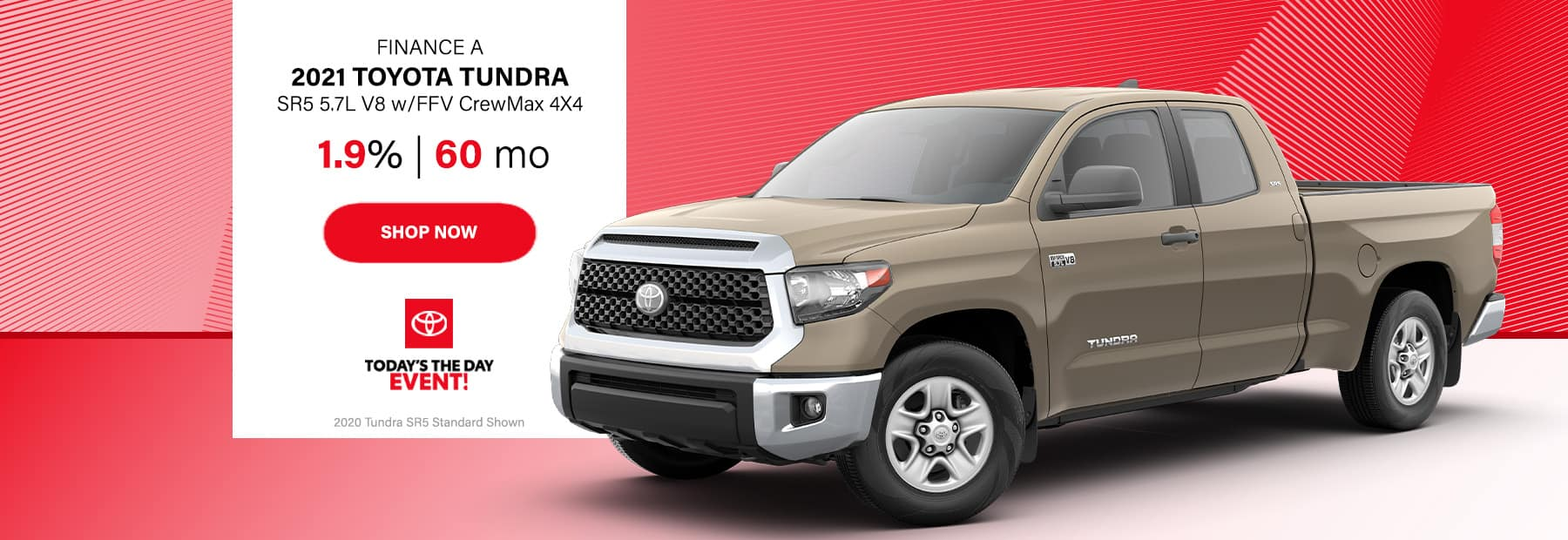 Finance a 2021 Toyota Tundra SR5 5.7L V8 w/FFV CrewMax 4x4 Pickup Truck at 1.9% for 60 months