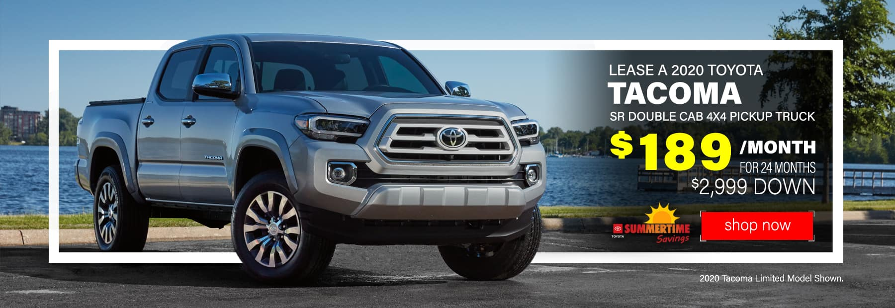 Lease a 2020 Toyota Tacoma SR Double Cab 4x4 Pickup Truck for $189/mo. for 24 mos. with $2,999 down