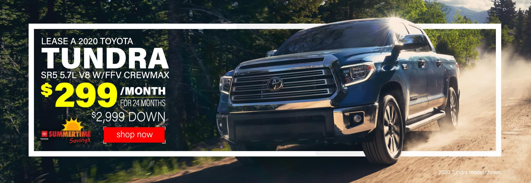 Lease a 2020 Toyota Tundra SR5 5.7L V8 w/FFV CrewMax 4x4 Pickup Truck for $299/mo. for 24 mos. with $2,999 down
