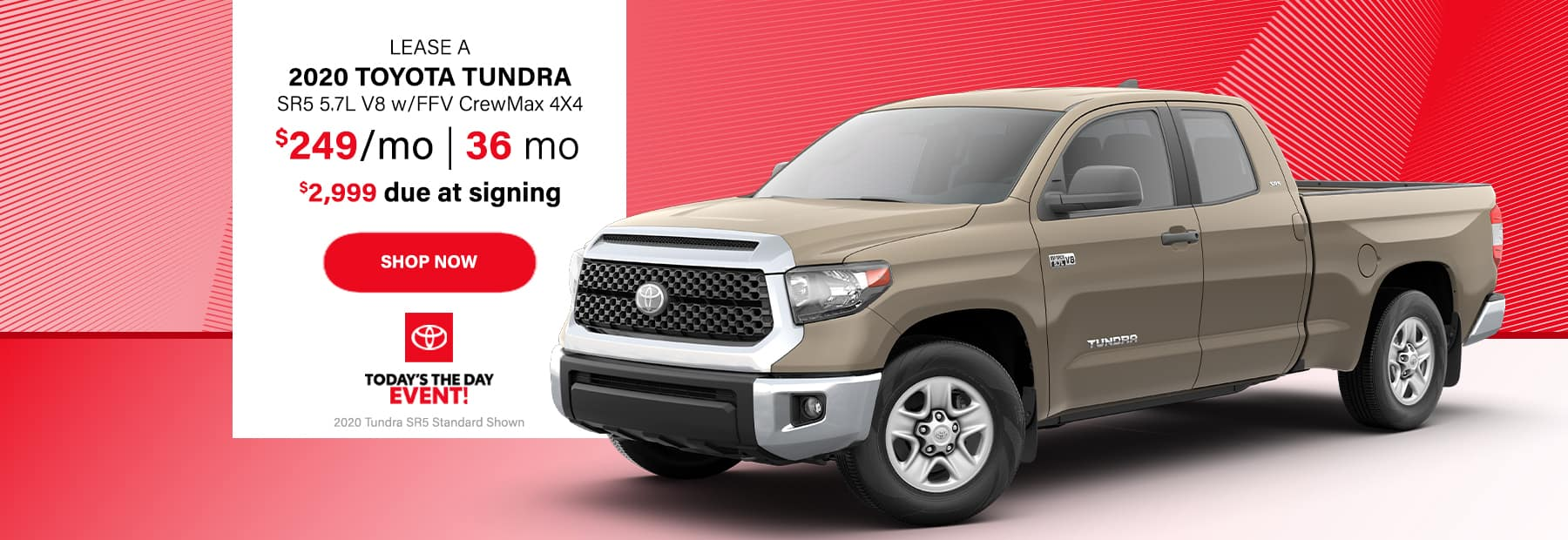 Lease a 2020 Toyota Tundra SR5 5.7L V8 w/FFV CrewMax 4x4 Pickup Truck for $249/mo. for 36 mos. with $2,999 down