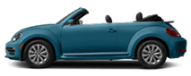 2019 Blue Volkswagen Beetle Convertible Exterior Side View with Top Down