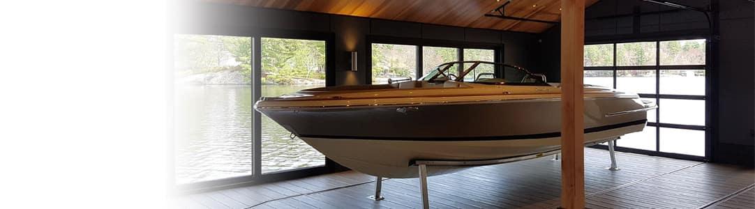 boat docked inside