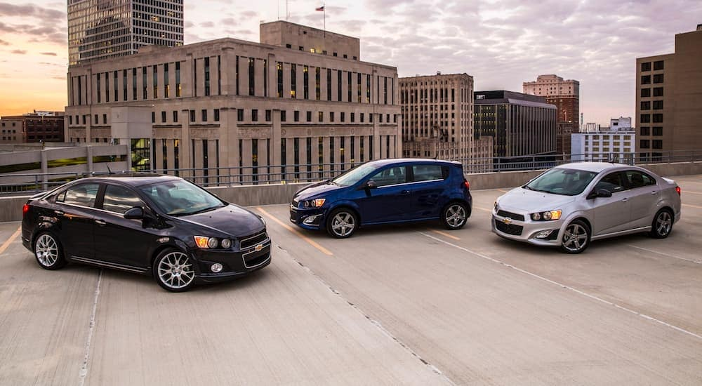 The three 2016 models of the Chevy Sonic are parked in a city near Bethlehem, PA. You can find the Chevy Sonic by searching, 'Chevy dealership near me'.