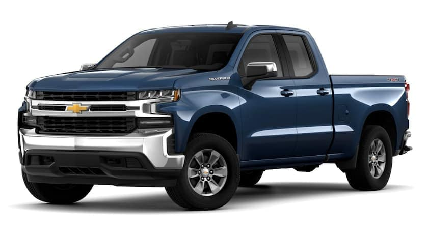 A blue 2019 Chevy Silverado 1500 is facing left.