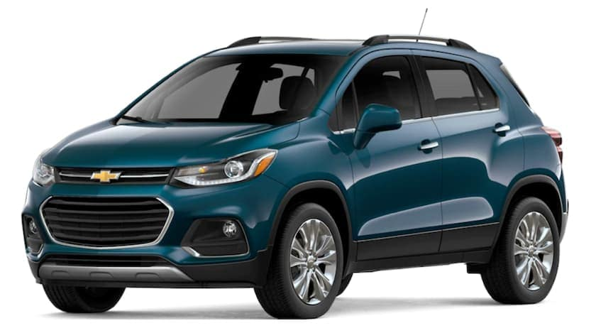 A blue 2019 Chevy Trax is facing left.